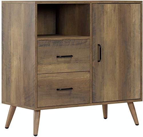 HOMECHO Schrank Kommode Sideboard mit 2 Schubladen und 1 Tür Anrichte Highboard Buffetschrank Industrie Design Vintage, braun, Holz 78x38.5 x80cm