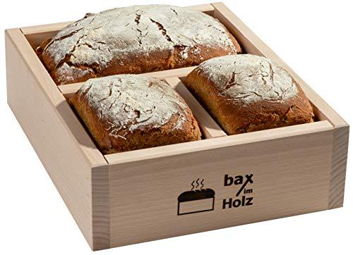 bax im Holz Brot-Holzbackrahmen aus naturbelassenem, massivem Buchenholz für leckeres, selbstgebackenes Brot doppelt