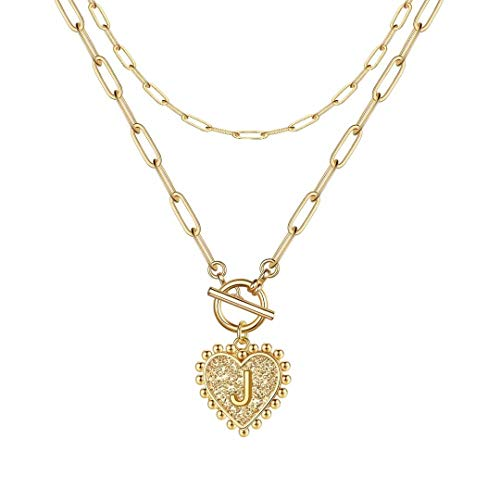 Ursteel Layered Choker Necklaces for Women, 14K Gold Plated Dainty Heart Initial Pendant Paperclip Chain Necklace Layering Gold Toggle Necklaces for Women Jewelry Gifts
