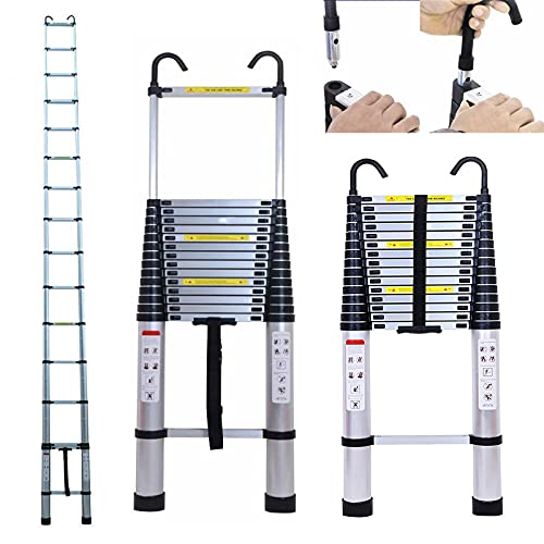 Telescoping Extension 20.34FT Extendable Ladder with Detachable Hook 6.2M Climb Compact Step Ladders One-Button Retraction 330 Pound Capacity with Spring Loaded Locking Folding Easy to Carry & Storage