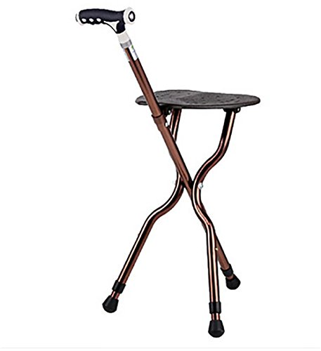 G&M Adjustable Folding Walking Cane Chair Stool with LED Light