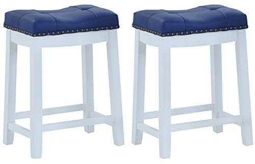 Angel Line Bar Stools, 24' Set of 2, White with Blue Cushion