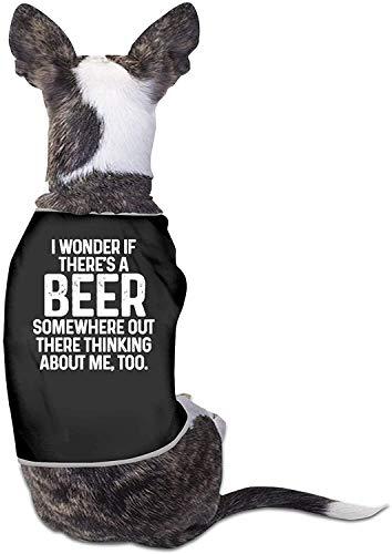 Me pregunto si la Cerveza también Piensa en mí Ropa para Perros Camisas con Estampado Lindo para Gatos y Mascotas Traje de cumpleaños Suave