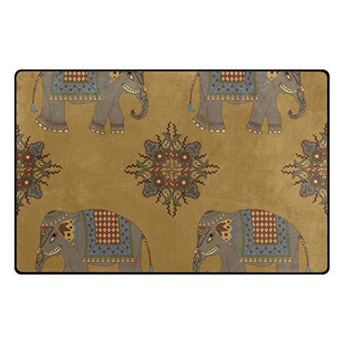 LUPINZ Teppich mit Elefanten-Motiv, für Eingangsbereich, Fußmatte, Heimdekor, 78,7 x 50,8 cm/152,4 x 99,1 cm, rutschfest, waschbar, verschleißfest, Polyester, 1, 31 x 20 inch
