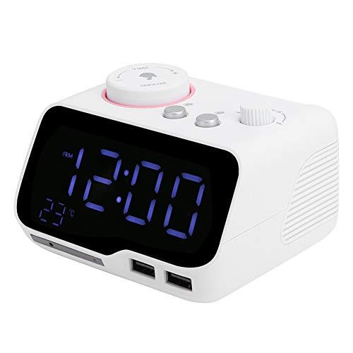 Radio FM Reloj Despertador Reproductor, Pantalla LED Altavoz Bluetooth, con función de Apagado automático de Reposo Compatible con Bluetooth, FM, Disco U, AUX(White, European regulations)