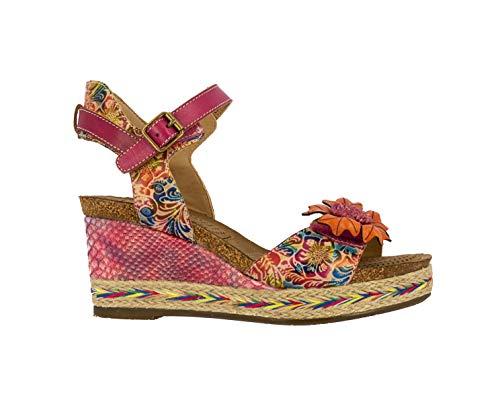 Laurra Vita Facyo 06, sandalias de piel para mujer, zapatos de ciudad verano, suela cómoda, estilo original flor, fucsia