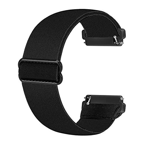 Ecogbd Cinturino di ricambio elastico compatibile con cinturino Fitbit Versa/cinturino Fitbit Versa Lite/cinturino Fitbit Versa 2, cinturini in nylon tessuto morbido per donna uomo (nero)