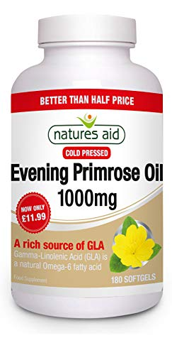 Natures Aid Evening Primrose Oil 1000 mg, Cold Pressed, Omega-6 GLA, 180 Softgel Capsules