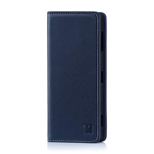 32nd Klassische Series - Lederhülle Hülle Cover für Sony Xperia XZ3, Echtleder Hülle Entwurf gemacht Mit Kartensteckplatz, Magnetisch & Standfuß - Marineblau