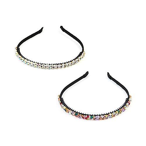 2 diademas de diamantes de imitación brillantes para mujer, diademas de cristal brillantes para niñas, accesorios para fiestas de cumpleaños (multicolor)
