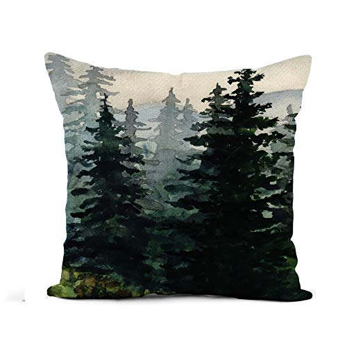Awowee Flax Throw Pillow Cover Blue Winter Watercolor Landscape Pine Forest Mountains Alaska Artistic 18x18 Inches Pillowcase Home Decor Square Cotton Linen Pillow Case Cushion Cover