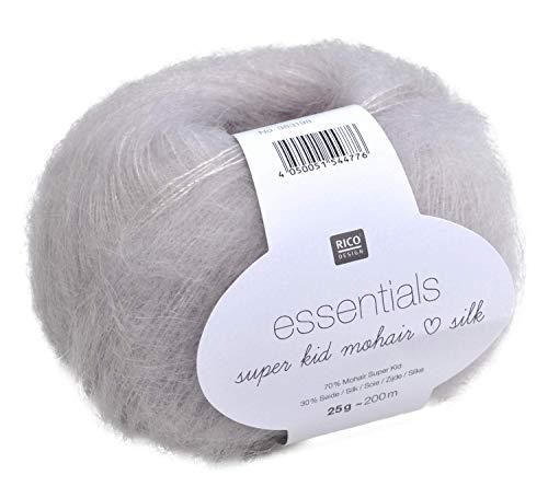 Rico Essentials Super Kid Mohair loves Silk, Fb. 002 – EIS, Lacegarn aus Super Kid Mohair & Seide zum Stricken und Häkeln, Lacewolle Nadelstärke 4,5 mm
