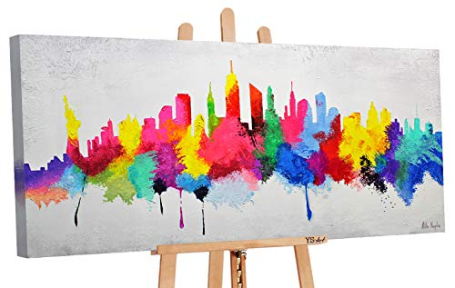 YS-Art | Dipinti a Mano Colori Acrilici Buon Umore | Quadro Dipinto a Mano | 115x50cm | Pittura | Dipinti Modern | Quadri Dipinti a Mano | Multicolore