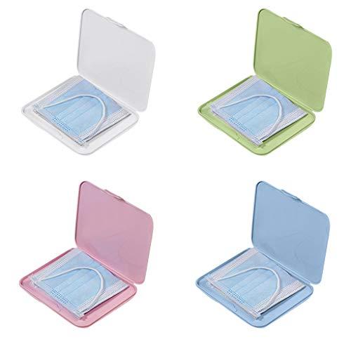 4pcs Aufbewahrungsbox Tragbare Einweg Flache Kunststoffbox, Gesichtsschutz Mundschutz Aufbewahrung Staubdichte feuchtigkeitsbeständige Reinigungsbox 13 x13 x 20cm
