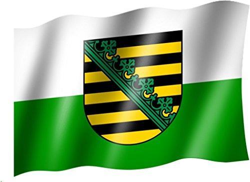 Sportfanshop24 Flagge/Fahne Sachsen Staatsflagge/Landesflagge/Hissflagge mit Ösen 150x90 cm, sehr Gute Qualität
