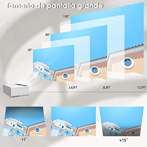 Mini proyector, ELEPHAS Video Proyector 4500 Lux Proyector de Cine en casa portátil LED de Larga duración 1080P Compatible, Compatible con PS4, PC a través de HDMI, VGA, TF, AV y USB Black (White)