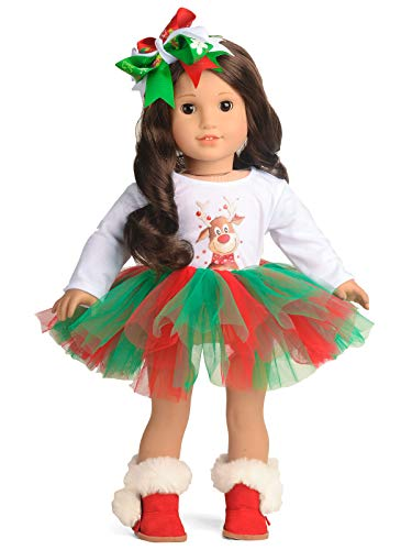 sweet dolly Doll Clothes Christmas Deer Tutu Dress fits 18 Inch American Girl Doll