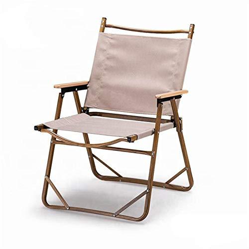 EQVUDJT Portátil Silla de Camping Muebles de Exterior Grain de Madera Aluminio Silla Plegable Camping para Actividades al Aire Libre (Color : Khaki S)