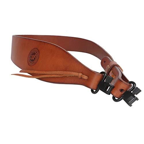 Tourbon Hunting Deluxe Vintage Cuero auténtico Estilo Europeo Escopeta Rifle Pistola Sling – Tan (Rifle)