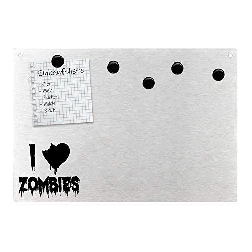 Magnetpinnwand Wandtafel I love Zombies Ich liebe Untote Edelstahl magnetisch
