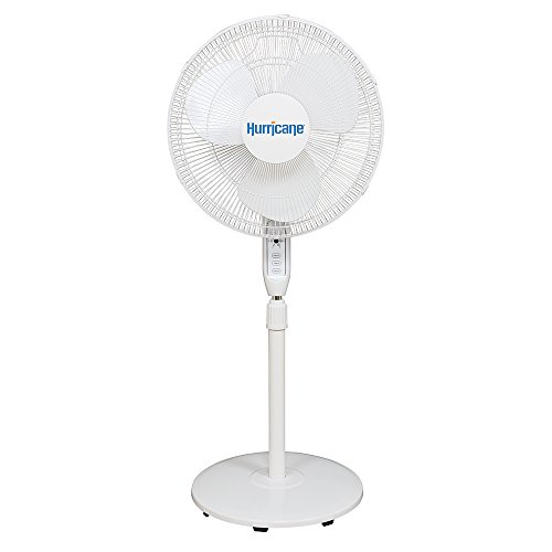 Hurricane Supreme Oscillating Stand Fan w/Remote 16 in-White Control, 3 Speed Settings, Adjustable Height 41 to 55 Inches-ETL Listed