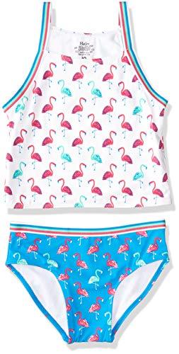 Hatley Mädchen Sporty Sets Tankini, Weiß (Fancy Flamingos 100), 10 Jahre
