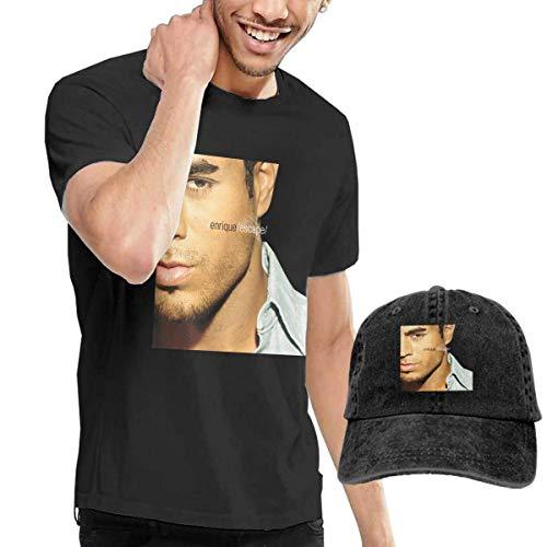Thimd Camiseta de Manga Corta para Hombre,Gorra de béisbol Combinación Negro Enrique Iglesias Escape T-Shirt and Washed Denim Baseball Dad Caps Black