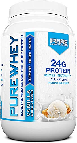 Pure Label Nutrition 100% USA Grass-Fed Whey Protein Concentrate, 2lb Vanilla, Non-GMO, rBGH Free, Soy Free, Gluten Free, Low Carbs and Low Fat, No Sugar Added, Keto Friendly