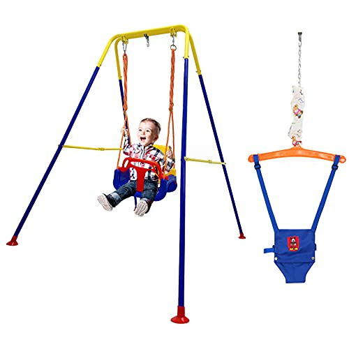 Toddler Swing Set for Backyard 2 in 1 Baby Indoor Swing Can Foldable and Easy to Store Swing for 6 Months-10 Years Old Kids with Random Pattern Baby Play Mat as Gifts for Boys and Girls