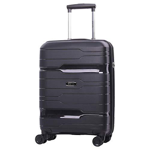 EONO Essentials Premium Hard Shell 8 Wheel Hold Controlla in valigia bagaglio con lucchetto a combinazione a 3 cifre TSA incorporato (Nero, Cabina)
