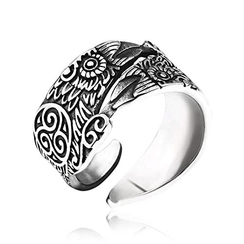 SYF@QYY Nórdico Celta Triskele Anillo Cuervo Joyería Amuleto Escandinavo Acero Inoxidable para Hombre,10