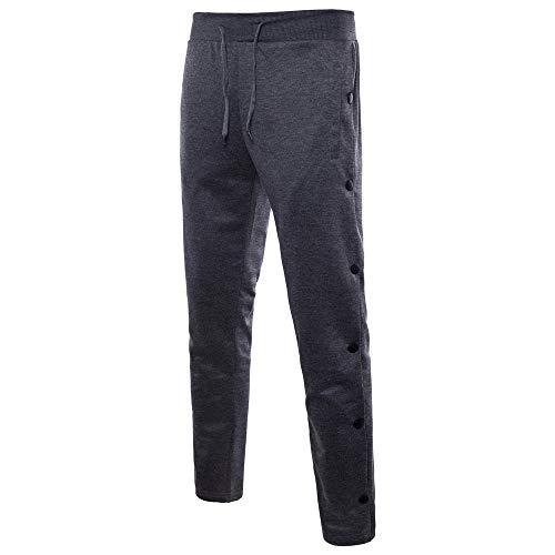 Celucke Herren Jogginghose Seitlicher Knopf Slim Fit,Männer Skinny Lange Bequem Sweatpants Herbst Winter Mode Freizeithosen