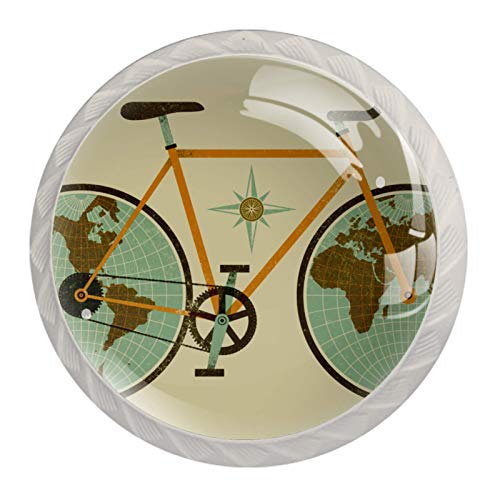 (4 piezas) pomos de cajón para cajón con tirador de cristal para gabinete con tornillos para armario, hogar, oficina, armario, divertido mapa del mundo retro con bicicleta de 35 mm
