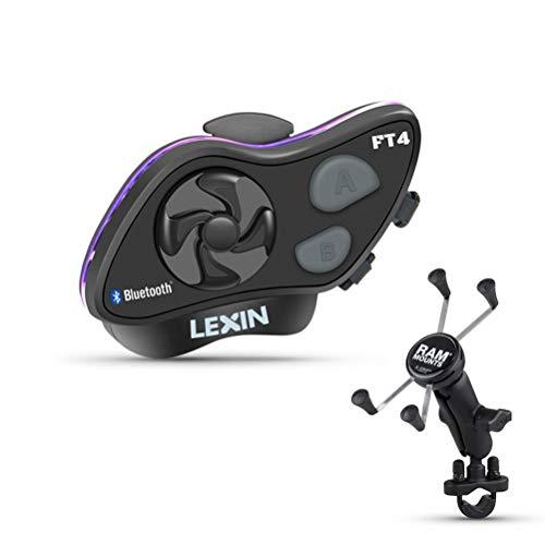 LEXIN FT4+RAM MOUNTS moto kit de combo, Auriculares intercomunicador Bluetooth para 4 motociclistas, viene con X-Grip soporte de RAM MOUNTS y base del depósito de freno/embrague para montar