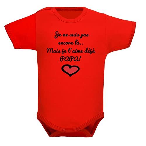 Body bébé, brassière enfant, manches courtes, papa, fête des pères, père, cadeau, bodies garçon, fille, cadeau de naissance - Rouge, 3-6 mois