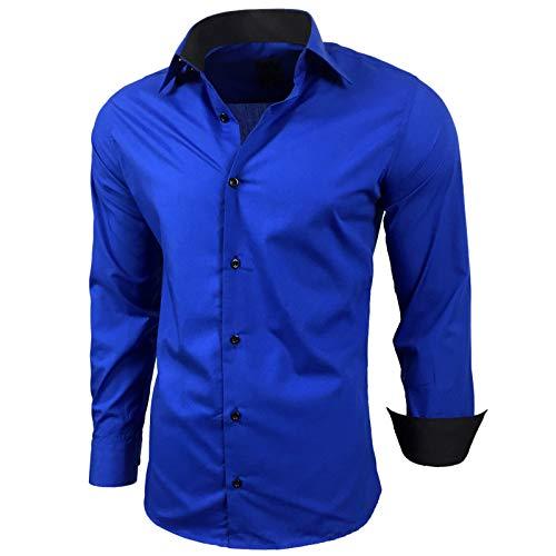 Baxboy Kontrast Herren Slim Fit Hemden Business Freizeit Langarm Hemd RN-44-2, Größe:L, Farbe:Sax