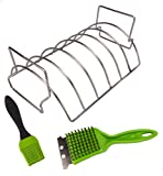 J-Line Design Rib Grilling Roasting Rack for BBQ and Smoker - Reversible Rib and Roast Holder - Holds up to 6 Baby Back Ribs - Complete with Basting Brush and Grill Scraper