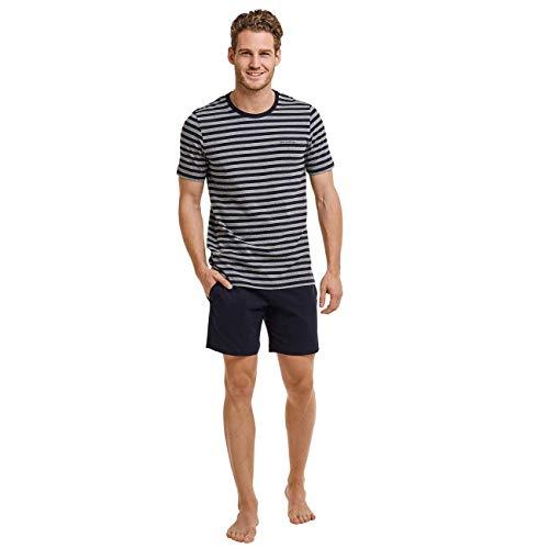 Marc O'Polo Body & Beach Herren Lounge M-LOUNGESET Crew-Neck Zweiteiliger Schlafanzug Kurz, Blau (Nachtblau 804), Medium