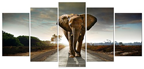 Wieco Art Elephant Canvas Prints Wall Art Animals Pictures to Photo Paintings Decor for Living Room Bedroom Home Decorations 5 Piece Modern Stretched and Framed Grace Grey Landscape Giclee Artwork