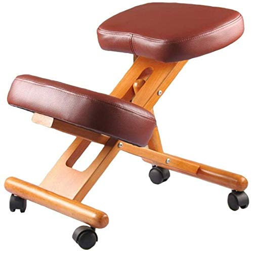 Rodillas ergonómica Silla de Oficina Mejora de la Postura de la Rodilla Taburete de Madera Gruesa cómodo Almohada Ortopédica Equilibrio de Asiento Sillón (Color : Brown)