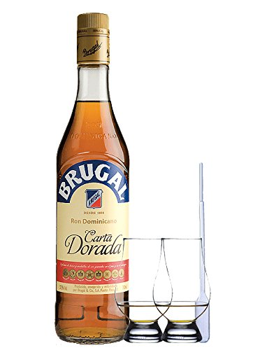 Brugal Carta Dorada Dominikanische Republik 1,0 Liter + 2 Glencairn Gläser + Einwegpipette 1 Stück