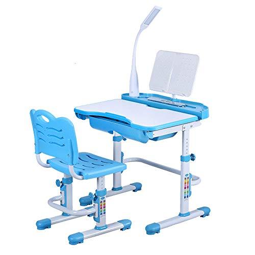 OUKANING Kinderschreibtisch Höhenverstellbar Stuhl-Set Bücherregal Kinder-Schreibtisch Mit Stühlen Schublade Led-Lampe Schreibtisch Und Stuhl (Blue)