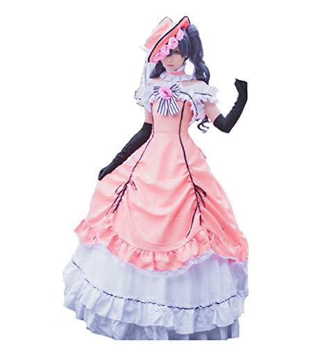 Smiling Angel Cos Anime Black Butler Kuroshitsuji Cos Halloween Palace Woman Pink Dress Cosplay Costume Dress+hat+Gloves+Neck, Medium