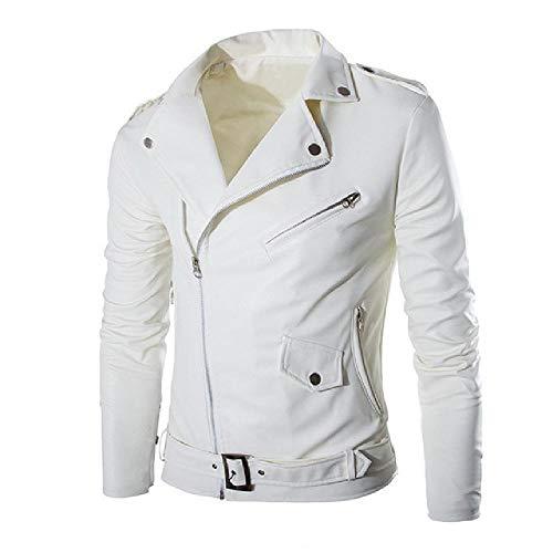 Herren-Jacke aus Kunstleder für Herbst und Winter, Freizeitkleidung, Motorradjacke, Windbreaker Gr. XL, weiß