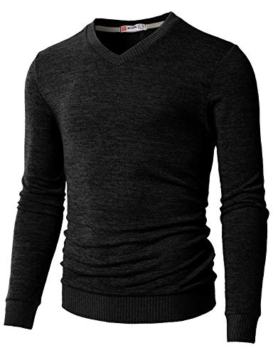 H2H Men's Wool Blend Solid V-Neck Sweater Pullover Black US M/Asia L (CMOSWL018)