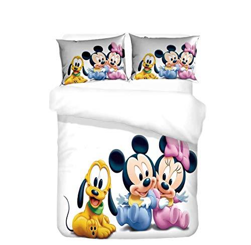 JNSS Minnie Mouse - Juego de ropa de cama para niña, 2 fundas de almohada + 1 funda de edredón (Mickey 1, 220 x 240 cm + 50 x 75 cm x 2)