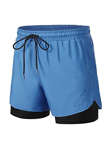 Wayleb Pantaloncini Running Uomo Leggero,Pantaloncini da Corsa 2 in 1 Compression Traspirante Shorts da Asciugatura Rapida con Tasca per Jogging Fitness Palestra