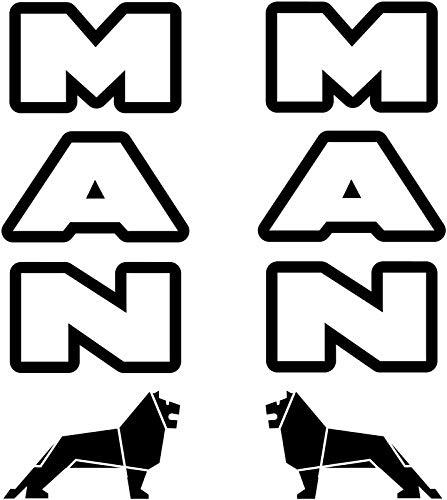 myrockshirt 2X Man Schriftzug mit Logo Löwe LKW Truck je ca 25cm Aufkleber,Sticker,Decal,Autoaufkleber,UV&Waschanlagenfest,Profi-Qualität