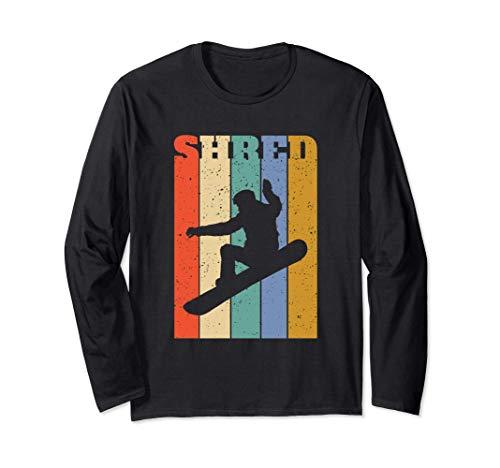 Snowboard-Shredder Retro-Vertikalstreifen Langarmshirt