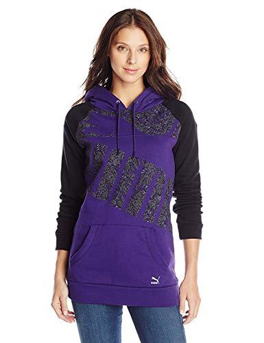 PUMA Women's Graphic Logo Hoodie, Parachute Purple/Black, X-Small